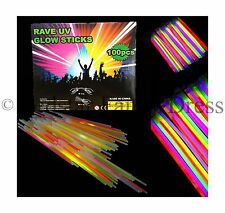 "100 x 8"" neon glow sticks avec 100 connecteurs rave night glow party uv bracelets"