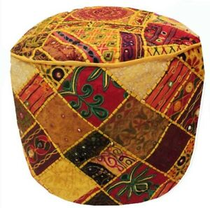 """33% OFF 24"""" ETHNIC BANJARA FURNITURE OTTOMAN BENCH FOOTSTOOL POUF PILLOW COVER"""