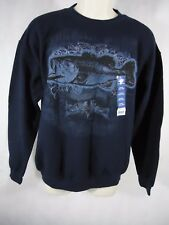 Puritan Men's Graphic Fleece Longsleeve Crew Sweatshirt - Small (34-36) - Navy