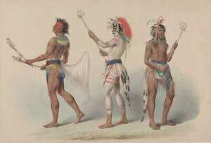 George Catlin Ball Players Giclee Art Paper Print Paintings Poster Reproduction