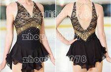 Figure Skating Dress Women's Ice Skating Dress Spandex Handmade black lace