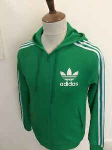 """RETRO ADIDAS HOODED TRACKSUIT TOP SIZE X SMALL 34"""" CHEST GREEN"""