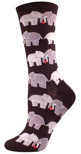 NEW Womens Ladies Fun Novelty Socks Elephant Love on Black - Sock Size 9-11