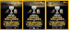 British & Irish Lions 2013 - Set Of 3 Test Match Rugby Programmes Mint Condition