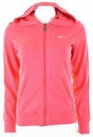 NIKE Womens Hoodie Sweater UK 12 Medium Pink Cotton  AS07