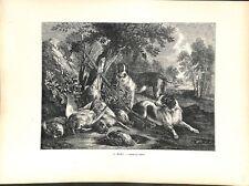 Chiens et Gibier & fusil  par Christophe II Huet peintre animalier  GRAVURE 1886