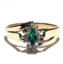 10k yellow gold diamond created marquise  emerald womens ring 3g vintage estate