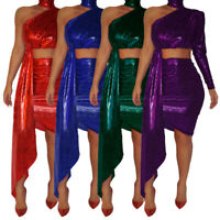 New Stylish Women's Solid One Sleeves Shiny Bodycon Party Dress 2pcs Night Club