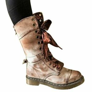 Women's Retro Mid-Tube Lace-Up Motorcycle Punk Ankle Boots Autumn and Winter
