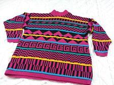 Vtg sweater sz XL Bright Pink Black Green Yellow Geometric Stripe 1980s 1990s