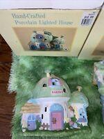 4 Easter Village Handcrafted Porcelain Lighted Houses.