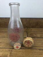 Vintage Sealtest National Dairy Glass   1 Quart Milk Container With Original Cap