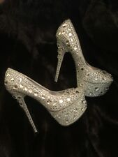 "Charlotte Russe "" BLING"" Silver Jeweled sparkle hi-heel pumps - Size 7"