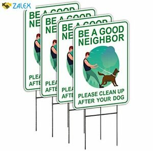 Clean Up After Your Dog Signs (4 Pack, 9 x 12) with Metal H-Stakes, Double Sided
