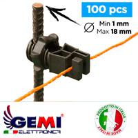 Isolateur pour clôture électrique électrifiée pour piquets en fer 100 pcs Gemi