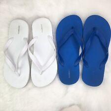 Old Navy Bundle Men's 8 / 9 Blue & White 2 Pair Flip Flops Shower Sandals Pack