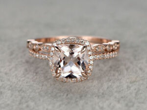 2.50 Ct Cushion-Cut Morganite Curved Wedding Bridal Ring Set 14K Rose Gold Over