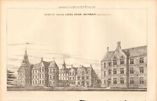 1871 ANTIQUE ARCHITECTURE, DESIGN PRINT- SELECTED DESIGN-LEEDS UNION INFIRMARY