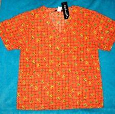 ORANGE GREEN BUTTERFLY Sz S Nurse SCRUB Top Shirt WOMENS Butterflies ~ NWT
