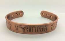 "Magnetic Copper 1/2"" Religious Adj Cuff Bracelet FAITH and CROSSES ON FRONT CN79"