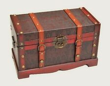 WOODEN TREASURE BOX Storage Trunk GIFT PIRATE BOX with Egyptian Pattern