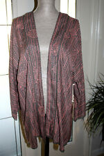 Roxy🌸  Pink & Gray Luna  Open Front Kimono Top Crochet Eyelet Hem Sz Large NWT!