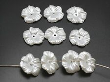 100 Pure White Acrylic Pearl Flower Bead Cap Sewing Bow Center 16mm Center Hole