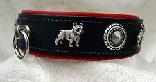 Halsband Französische Bulldogge Leder ist rein pflanzliche gegerbt 4,00 cm breit