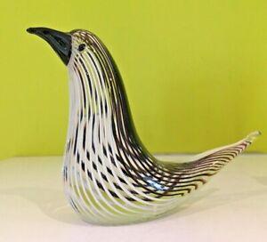 Black White Striped  Glass Bird  Figure