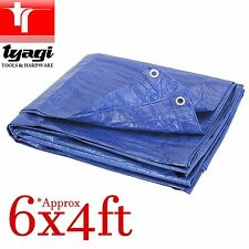 6FT x 4FT TARPAULIN BLUE WATERPROOF FLY COVER TENT GROUND SHEET WINDBREAK