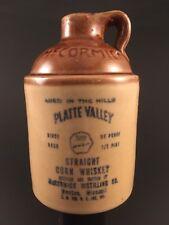 Vintage Stoneware McCormick Platte Valley Straight Corn Whiskey Small Bottle Jug