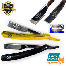 Folding Straight Razor Kit Barber Close Shave Safety Blades Quality Stainless