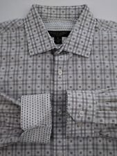 Pronto Uomo Mens Large Gray White Check Flip Cuff Button-Front Shirt