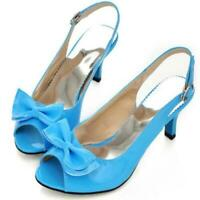 Women Peep Toe Slingback Bowtie Block High Heels Pumps Shoes All Size Oversize 8