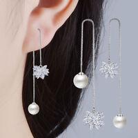 Valentine's Day Party 925 Sterling Silver Zircon Ice Flower Stud Drop Earrings