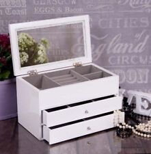 White Wooden Jewelery Box Display Drawer Large New Jewellery Present