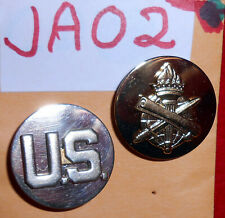 JA02 US Army enlisted collar disks, Civil Affairs and U.S.  maker marked