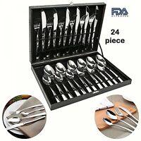Modern Flatware Set Silverware Large Cutlery Kitchen  Stainless Steel 24 Piece