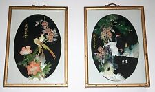 SET of Vintage Lacquer and Mother Pearl Shell WALL ART Birds JAPANESE Oriental