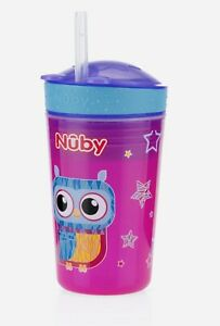 Nuby Toddler Cup No Spill Cool Sipper Owl Design Snack N' Sip BPA Free New