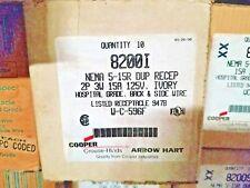 COOPER WIRING 8200I NEMA DUPLEX RECEPTACLE 2POLE 3W 15A 125V, IVORY, QTY 10