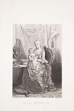 Gravure XIX° Marie-Antoinette tenant dans ses bras le futur Louis XVII