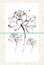 US SELLER, lotus flower temporary tattoo cheap fake tattoos
