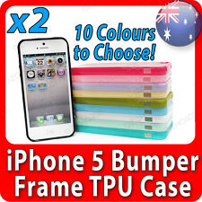 2 X Bumper Frame TPU Case GEL Hard Plastic Cover for Apple iPhone 5 5th 5s