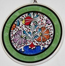 "Green Bordered Turkish Handmade 4"" Ceramic Iznik Tulip Pattern Wall Plate"