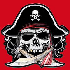 SKULL PIRATE  IRON ON EMBROIDERED 5 INCH BIKER PATCH