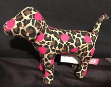 """Victorias Secret Mini Dog Plush 7"""" Stuffed Animal Pink Leopard Print Polka Dots"""
