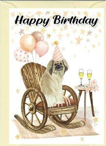 "Tibetan Spaniel Dog (4""x 6"") Birthday Card with blank inside - by Starprint"