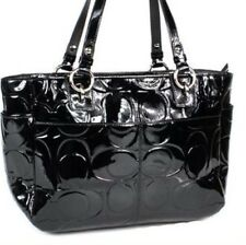 COACH SIGNATURE EMBOSSED BLACK PATENT LEATHER GALLERY TOTE PURSE HANDBAG
