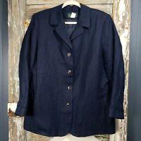 Harvé Benard Navy Blue Womens Size 16W Linen Blazer/Jacket 4- Button Lined